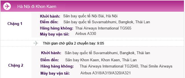 Hành trình bay Hà Nội - Khon Kaen