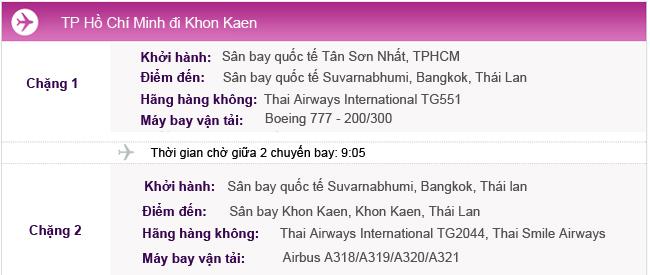 Hành trình bay TPHCM - Khon Kaen