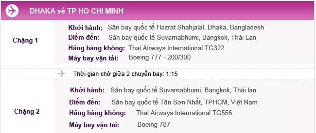 Hành trình bay Dhaka về TPHCM