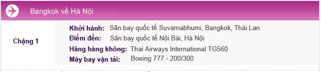Hành trình bay Bangkok-Hà Nội