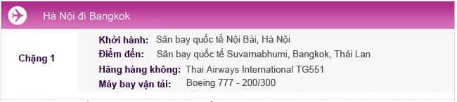 Hành trình bay Hà Nội - Bangkok