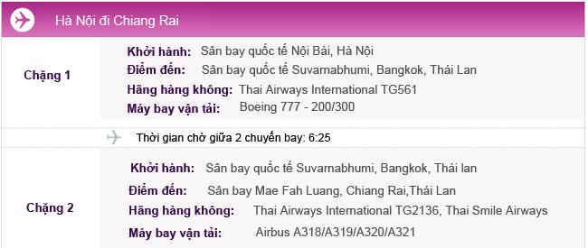 Vé máy bay từ Hà Nội đi Chiang Rai