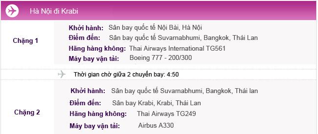 Hành trình bay từ Hà Nội đi Krabi