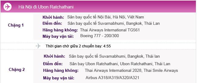 Hành trình bay Hà Nội - Ubon Ratchathani