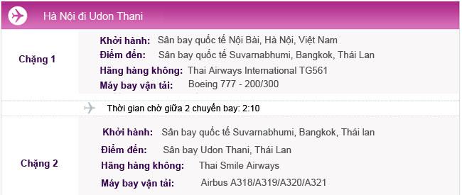 Hành trình bay Hà Nội - Udon Thani