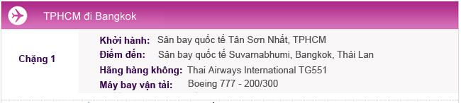 Hành trình bay TPHCM đi Bangkok