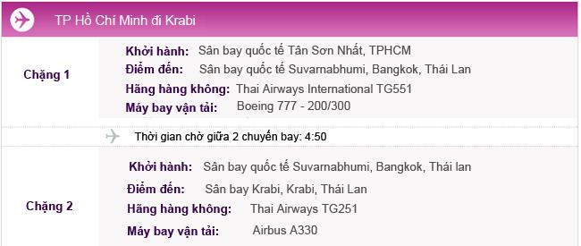 Hành trình bay từ TPHCM đi Krabi