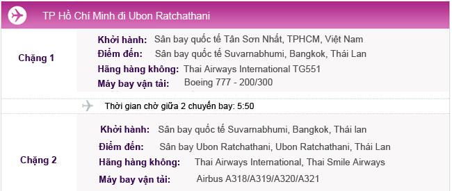 Hành trình bay TPHCM - Ubon Ratchathani