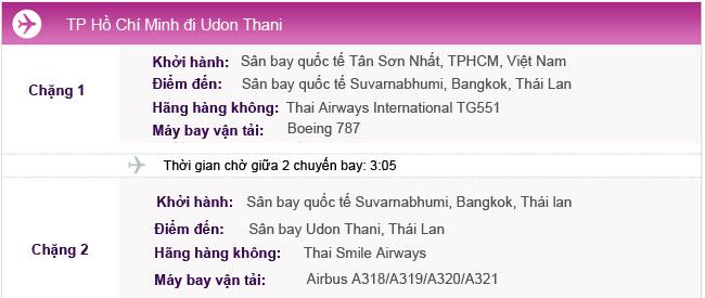Hành trình bay TPHCM - Udon Thani