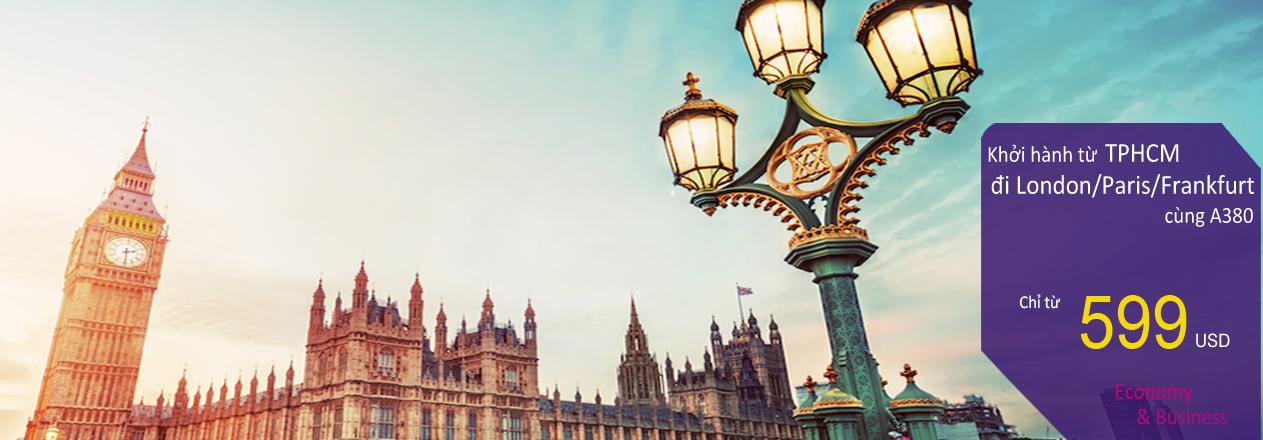 Khuyến mãi từ TPHCM đi London. Paris, Frankfurt cùng A380