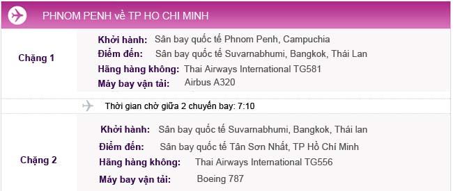 Vé máy bay từ Phnom Penh về TPHCM