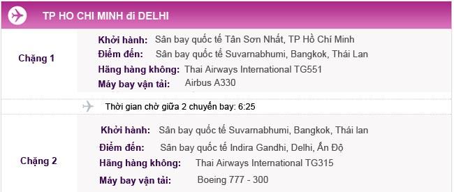 Hành trình bay TPHCM đi Delhi