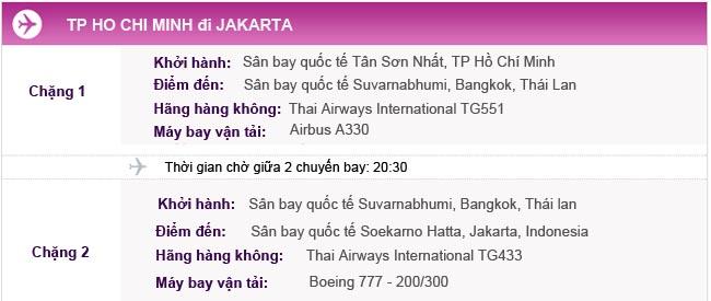 Hành trình bay TPHCM - Jakarta