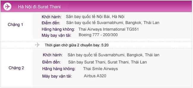 Vé máy bay đi Surat Thani từ Hà Nội