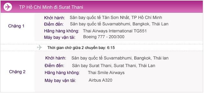 Vé máy bay đi Surat Thani từ TPHCM
