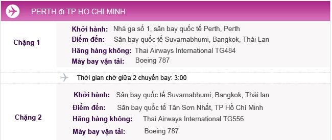 Vé máy bay khứ hồi từ Perth về TPHCM