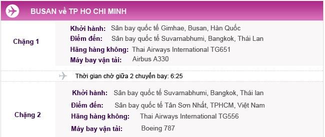 Vé máy bay từ Busan về TPHCM