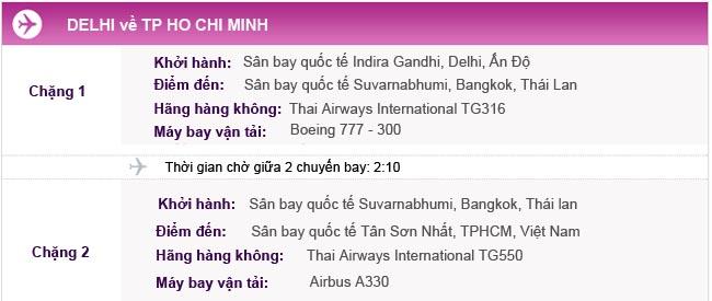 Hành trình bay Delhi về TPHCM