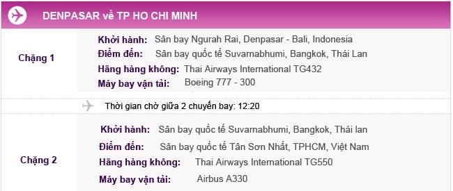 Hành trình bay Denpasar - TPHCM