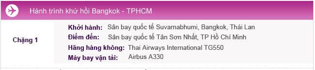 Hành trình bay Bangkok - TPHCM