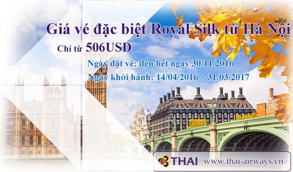 Thai Airways khuyến mãi hạng vé Royal Silk từ Hà Nội