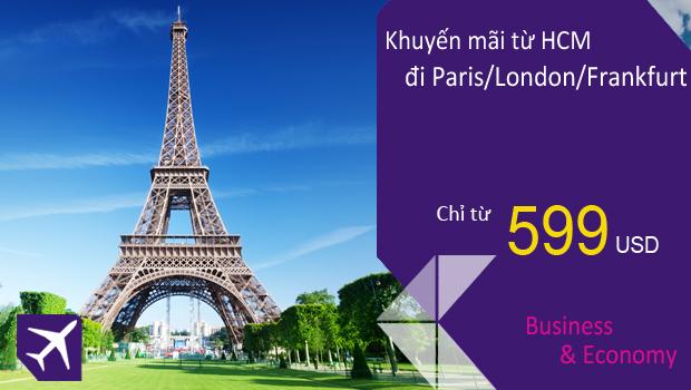Bay cùng A380 từ HCM đi London, Paris, Frankfurt