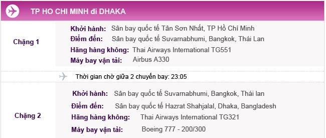 Hành trình bay TPHCM đi Dhaka