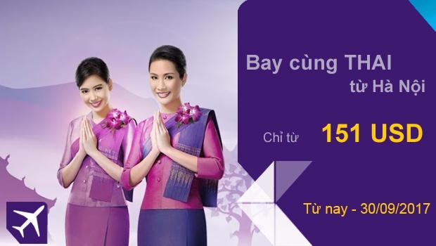 Thai Airways khuyến mãi từ Hà Nội trong tháng 9-2017