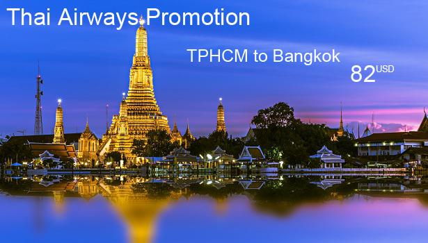 Vé máy bay từ TPHCM đi Bangkok khuyến mãi của Thai Airways
